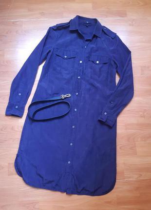 Шёлковое платье-рубашка , поясок в 🎁подарок