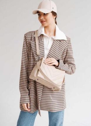 Женская сумка  бежевая. модна жіноча сумка (бежева)