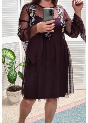 Воздушное легкое натуральное платье с вышивкой next