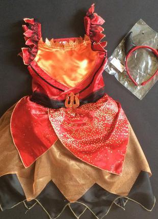 Карнавальное платье чертенка огня дьявола 7-8 лет новое с обручем рожки на голову