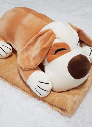 Игрушка-плед собака рыжая 50см (игрушка+подушка+плед) 107*157 см микрофибра