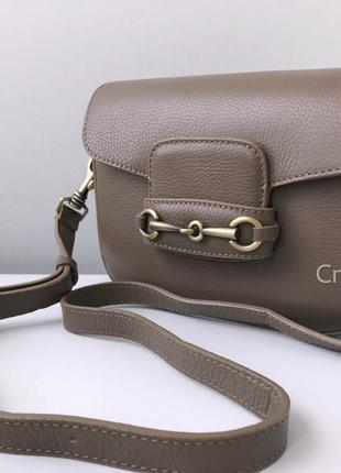 Кожаная сумка кроссбоди на плечо 29600 borse in pelle италия тауп