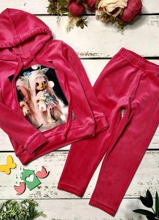 Велюровый малиновый спортивный костюм куколка с нашивкой