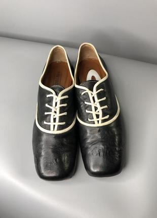 Дизайнерские кожаные туфли дерби оксфорды женские с квадратным носком мысом rundholz owens