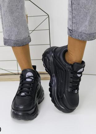 Женские кроссовки кожаные черные, женские кроссовки на массивной подошве, молодежные кроссовки демисезонные, женские кроссовки на платформе и танкетке