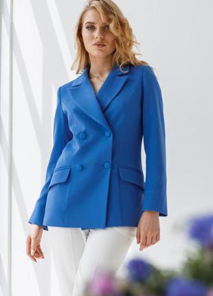 Пиджак женский двубортный  деловой, офисный, нарядный, синий, тиар, размеры 42, 46