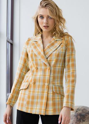 Пиджак женский двубортный деловой, офисный, желтый в клетку, тиар, размеры 42, 44, 46, 48