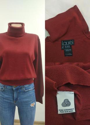 Laurel шерстяна базова водолазка гольф бадлон кофта светр 100%шерть бордового кольору xxs xs s