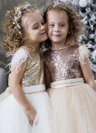 Детское нарядное пышное платье с бантом натали