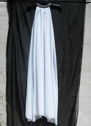 Элегантное длинное прямое шифоновое белое нарядное платье