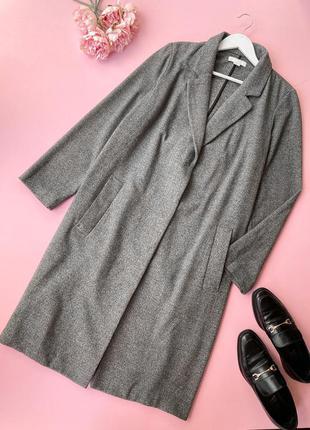 Легке сіре пальто-оверсайз вільне hm, h&m, лёгкое серое длинное пальто-оверсайз, свободное пальто