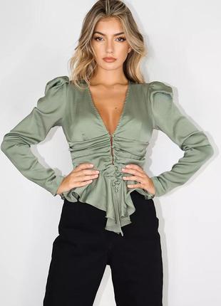 Сатиновая блузка оливковая, модная блузка с объемными плечами, блуза