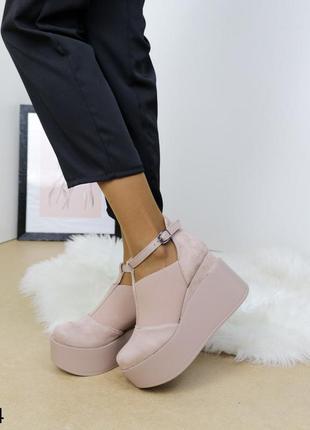 Женские туфли замшевые бежевые, женские туфли на платформе, базовые туфли на высокой платформе и танкетке бежевые