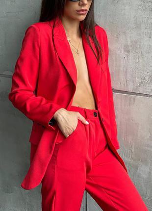 Красивый женский костюм штаны жакет пиджак классика на работу офис школа костюм