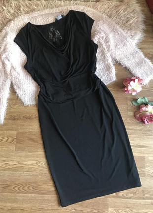 Чёрное красивое платье-миди(16р)44