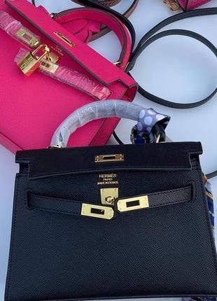 Сумка женская кожаная черная розовая брендовая