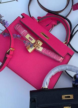 Сумка женская кожаная розовая брендовая келли