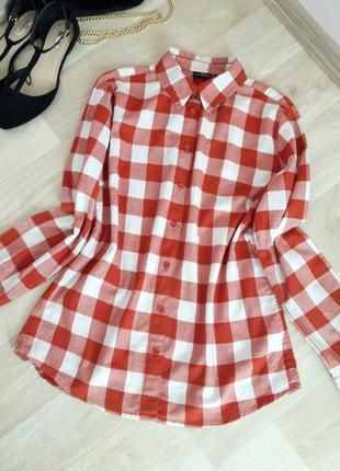 Рубашка кофточка блузка в клетку хлопок классика zara h&m bershka primark asos next