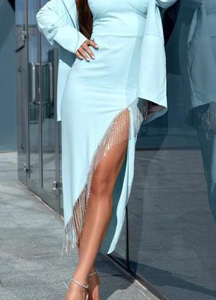 Жіночий костюм голубий плаття з жакетом