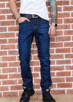 Базовые темно-синие мужские джинсы на флисе зимние мужские джинсы на зиму прямые мужские джинсы темно-синего цвета тёплые мужские джинсы