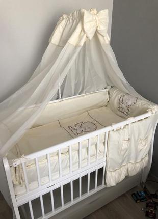 Набор постельного белья с бортиками и балдахином
