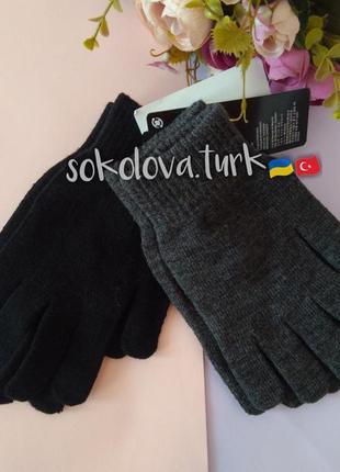 Комплект 2 пары вязаные перчатки рукавиці акрил h&m
