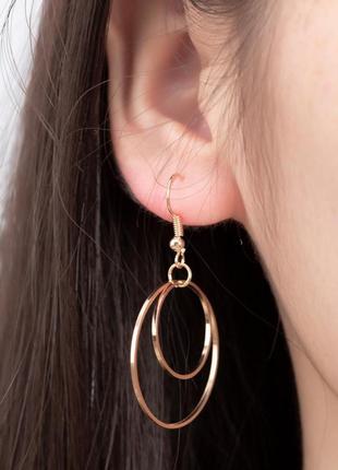 Серьги сережки двойные кольца золотые золотистые новые