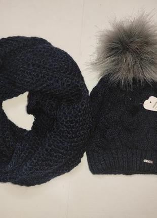 Шапка хомут теплый зимний набор косы крупная вязка