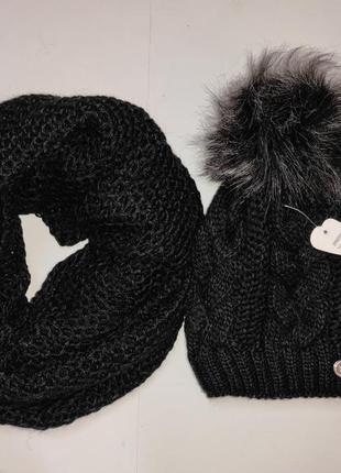 Шапка хомут теплый зимний набор черный