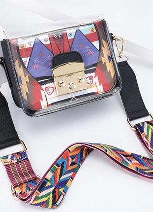 Модная женская сумка-мессенджер через плечо с широким ремешком, прозрачная яркая сумочка, кроссбоди