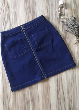 Юбка с карманами, юбка на молнии, джинсовая юбка