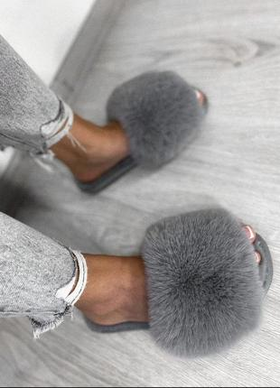 Домашние тапочки тапки женские серые