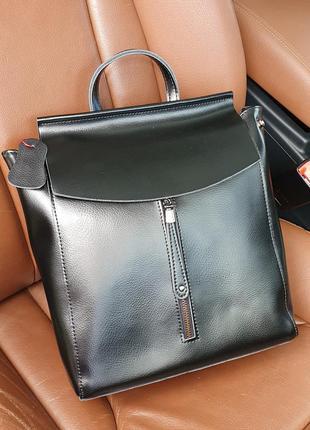 Жіночий шкіряний рюкзак alex rai, чорна фурнітура