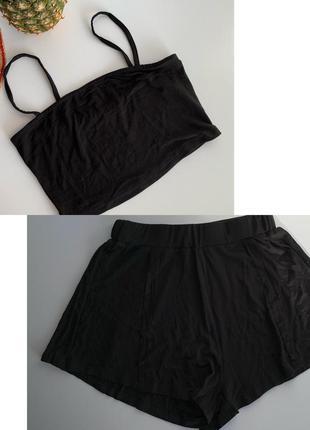 Костюм з шортами, комплект топ шорти, чорний комплект на літо, майка на бретелях.