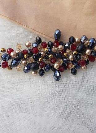 Вечернее украшение для волос, веточка из бусин и жемчуга