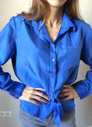 Женская блуза  рубашечного кроя из натурального шёлка seiden taft шафа