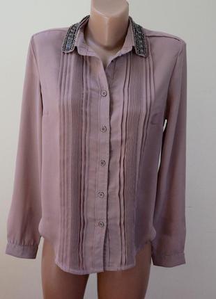 Блуза рубашка шифоновая с расшитым воротником sweet revenge