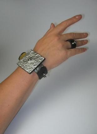 Браслет трансформер , разборный со съемным пином . кожаный браслет минимализм