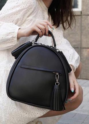 Чёрный рюкзак кожзам кросс боди