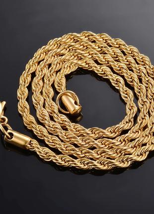 """Цепочка """"жгут"""" (верёвочка) 40 см + 10 мм золотистого цвета"""
