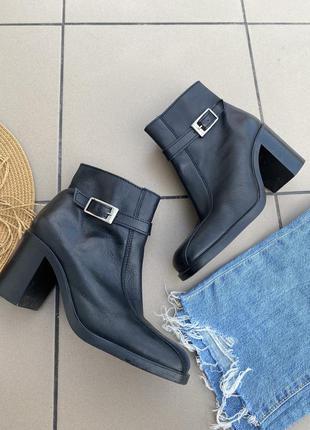 Сапоги кожаные ботинки ботильоны сапожки кожа с квадратным носком