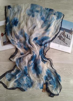 Большой шелковый шарф jaeger 100% шелк