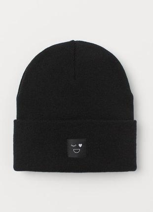Вязаные чёрные двойные шапки от h&m на 4-8 лет