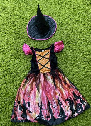 Платье ведьма ведьмочка на7-8лет на хеллоуин