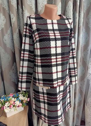 Платье в клетку, осень-весна, длинный рукав. 1+1= 50% скидки на 3ю вещь.