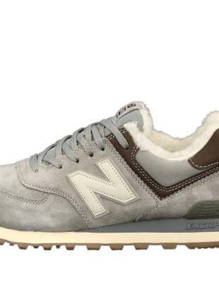 Топовые зимние кроссовки ботинки new balance 574 с меховой подкладкой на меху серые