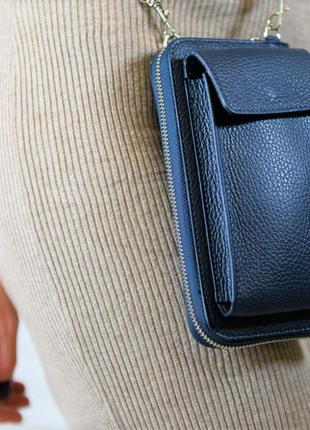 Женская кожаная сумка-кошелек через плечо