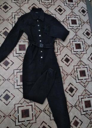 Комбинезон джинсовый с дшиным рукавом ( джогеры )