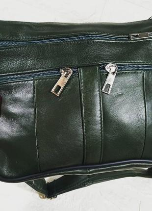 Маленькая женская кожаная сумка темно зеленая через плечо мягкая кожа