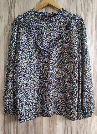 Своюодная блуза в цветы, широкий рукав, блуза винтаж,ретро